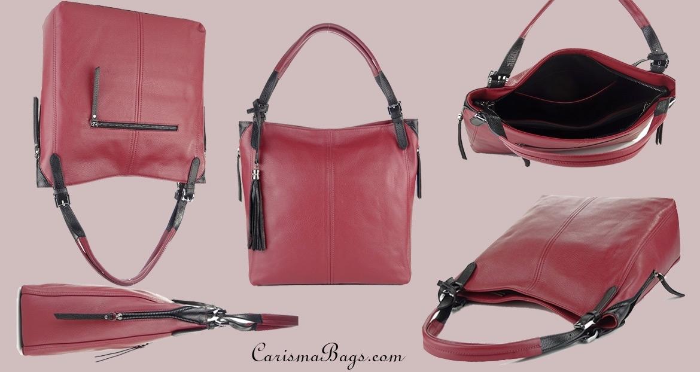 Чанта от естествена кожа с аксесоар висулка