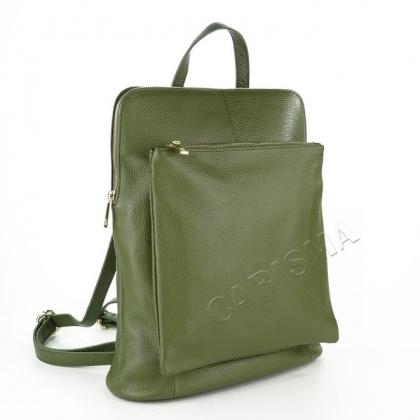 Чанта раница с преден джоб в маслено зелен цвят 1253