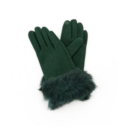 Тактилни дамски ръкавици с пух 002R