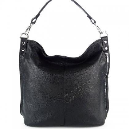 Кожена черна чанта тип торба