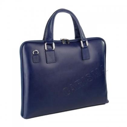 Синя бизнес чанта от естествена кожа 3098