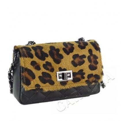 Малка чанта с естествен косъм, Леопард, 1023