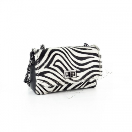 Чанта с косъм зебра