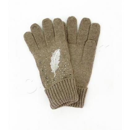 Ръкавици с камъни и бродерия перо 833