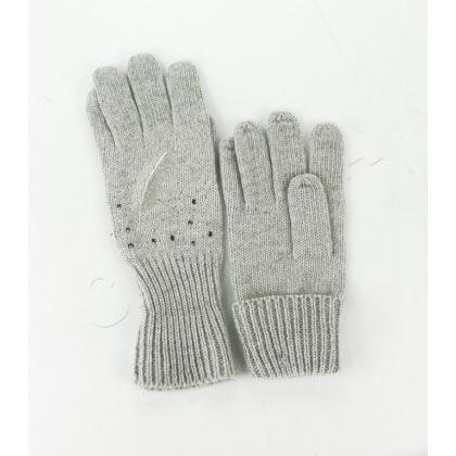 Ръкавици с камъни и бродерия перо 833-1