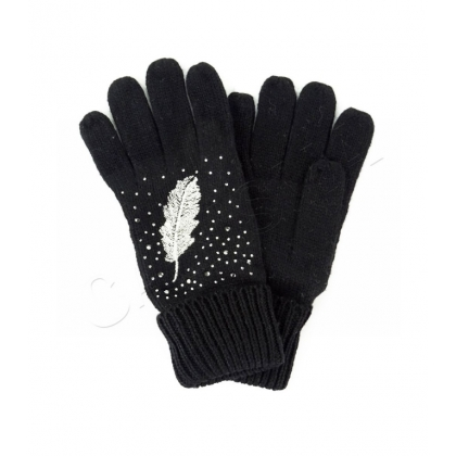 Ръкавици с камъни и бродерия перо 833-4