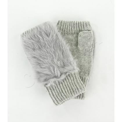 Сиви дамски ръкавици без пръсти естествен заешки пух 843