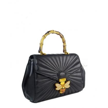 Дамска чанта с дръжка от бамбук 7154G