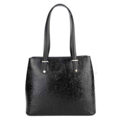 Черна дамска чанта с флорални мотиви 11543
