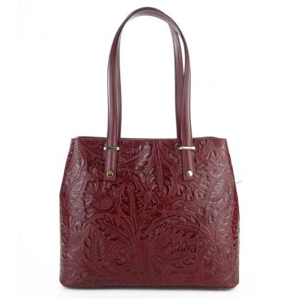 Чанта с флорални елементи, Бордо, 11543-1