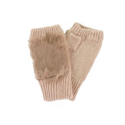 Ръкавици без пръсти със заешки пух 843-1