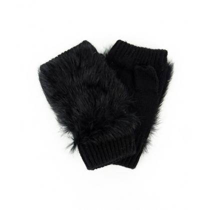 Черни дамски ръкавици заешки пух
