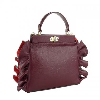 Ефектна дамска чанта в бордо, 2613I-1