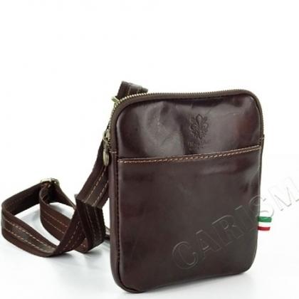 Малка мъжка чантa за през рамо, Тъмно кафява, 19181-1