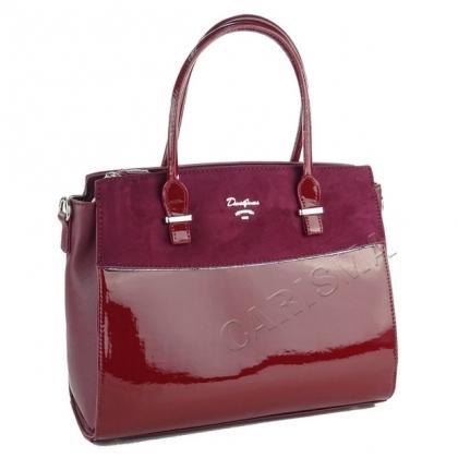 Чанта от еко кожа и лак, Бордо, David Jones, 5846DJ-2