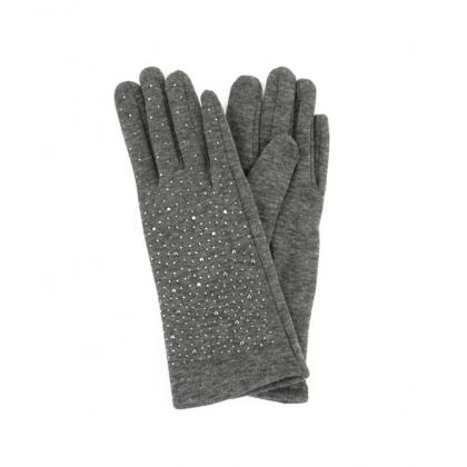 Сиви ръкавици с камъни 182GD