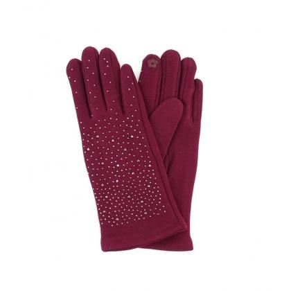 Тактилни дамски ръкавици с камъни 182GD-2
