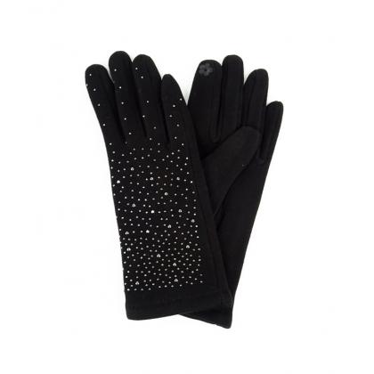 Тактилни дамски ръкавици с камъни 182GD-3