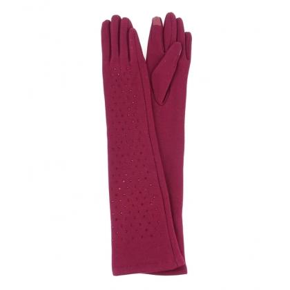 Дълги дамски ръкавици с камъни бордо 310