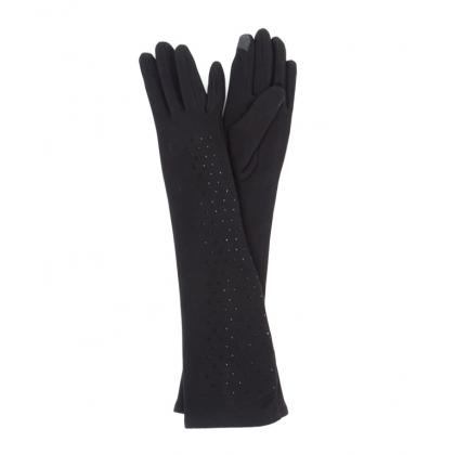 Дълги дамски ръкавици с камъни Черни 310-1