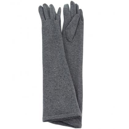 Дълги дамски ръкавици с камъни Сиви 310-2
