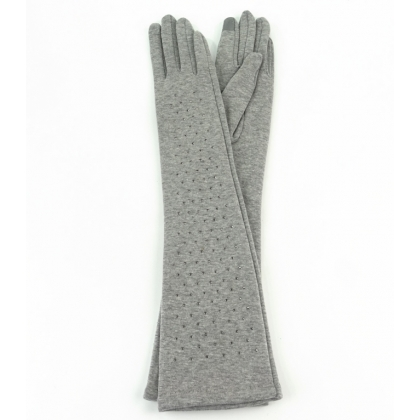 Дълги дамски ръкавици с камъни Светлосиви 310-3