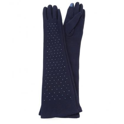 Дълги дамски ръкавици с камъни Тъмносини 310-4