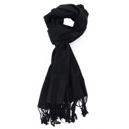 Черен изчистен шал Пашмина 62P