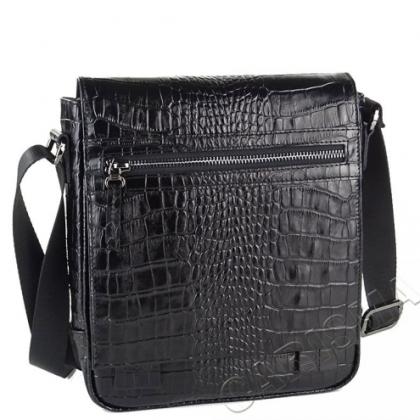 Мъжка чанта с капак, черна 2218B