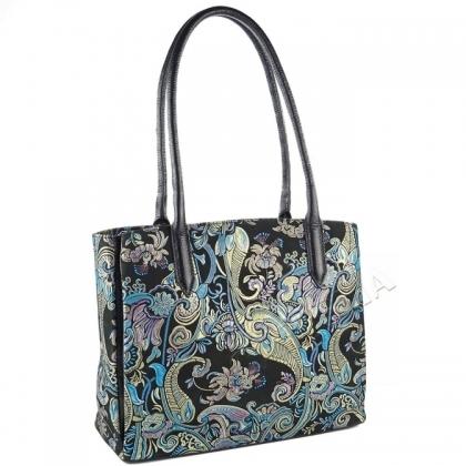 Чанта от кожа с флорален принт