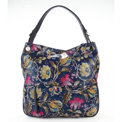 Дамска чанта с флорални мотиви, Тъмносиня, 3892T-1