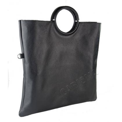 Черна кожена чанта тип торба