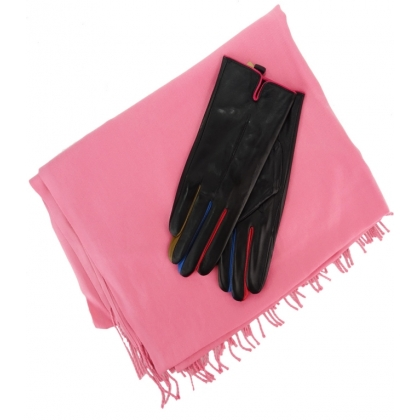 Комплект дамски шал и кожени ръкавици