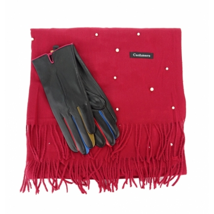 Комплект шал с перли и кожени ръкавици 0011К-3