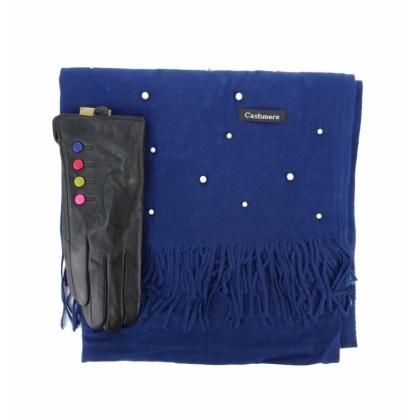 Комплект кашмирен шал и кожени ръкавици 0011-4