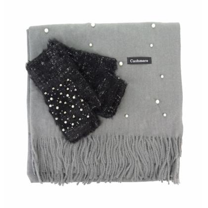 Комплект шал и ръкавици с перли 0011K-5