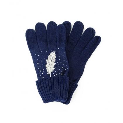 Тъмносини ръкавици с перо