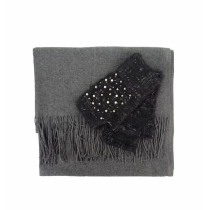 Комплект дамски шал и ръкавици 0011K-7