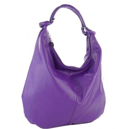 Кожена чанта тип торба в лилаво 1393L-7