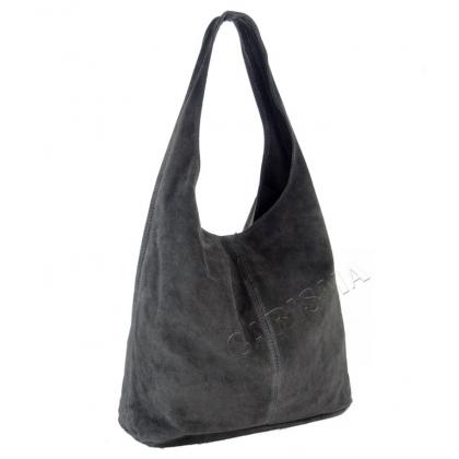 Тъмно сива чанта тип торба от естествен велур 1395-3