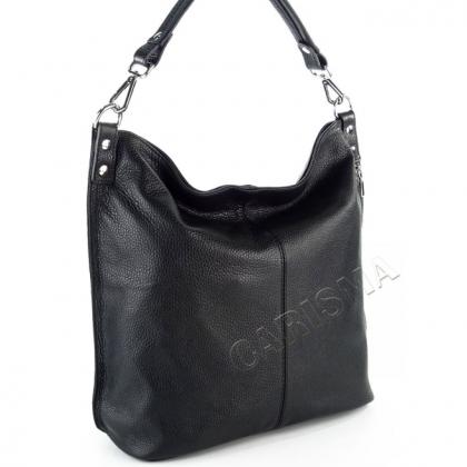 Дамска чанта тип торба с вертикален цип, Черна, 11933-2