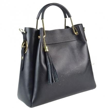 Черна кожена чанта 2 в 1 с несесер