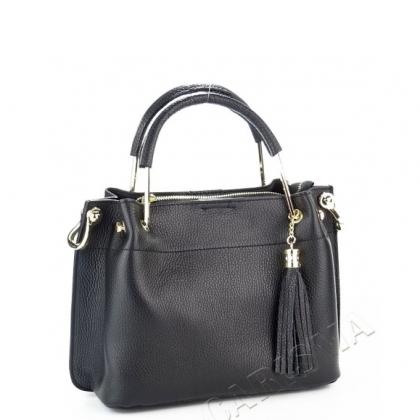 Елегантна кожена чанта в черно 3206M-2
