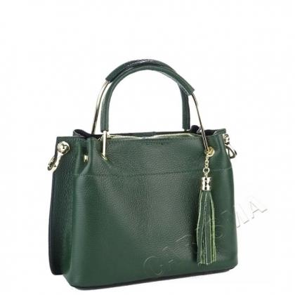 Елегантна кожена чанта в тъмно зелено 3206M-1