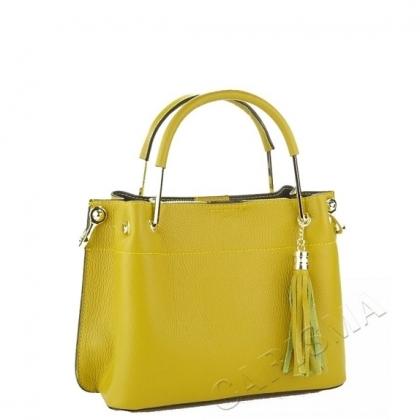 Елегантна кожена чанта в жълто 3206М