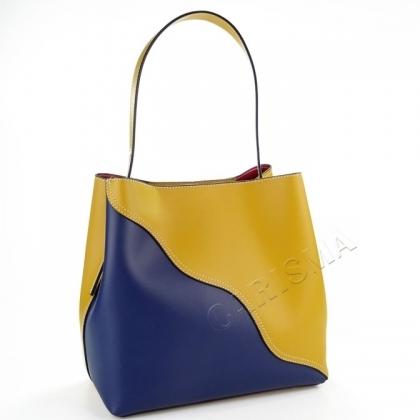 Дамска кожена чанта в два цвята 2316I