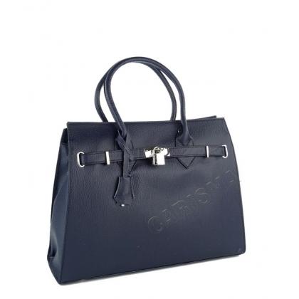 Тъмносиня чанта с декоративно катинарче 3521-5
