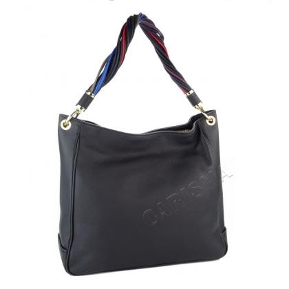 Кожена дамска чанта с многоцветна дръжка