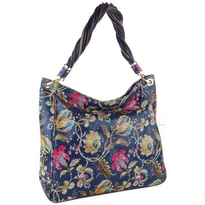 Дамска кожена чанта с флорален принт 183M-2