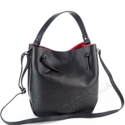Кожена черна чанта